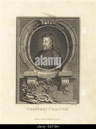 Portrait of Geoffrey Chaucer, medieval English poet, 1343-1400. - Stock Image