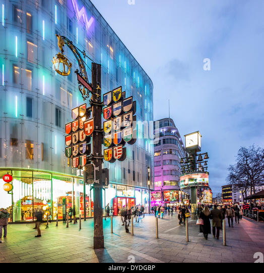 Swiss Corner with The Glockenspiel and the W hotel on the corner of Wardour Street and Leicester Square in London. - Stock Image