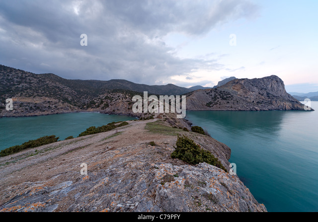 Rocky coast of Black Sea. Novyi Svet. Crimea. Ukraine - Stock Image