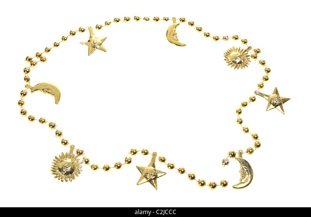 Gold Beaded Necklace - Stock Image