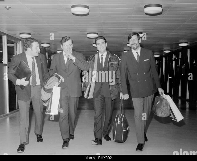 The four men who will lead the British Leyland attack in the Daily Mirror World Cup Rally fly out to South America - Stock Image