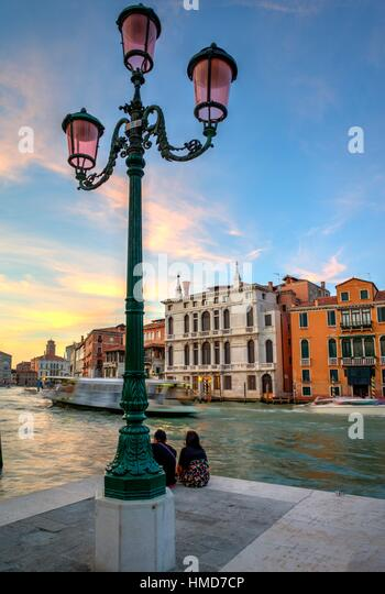 The Grand Canal at sunset. Venice, Italy - Stock Image