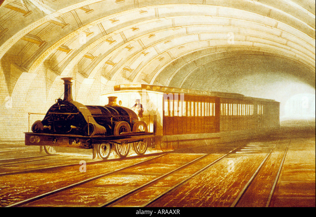 London Transport Museum historical print early underground train carriages history tube travel England English UK - Stock Image
