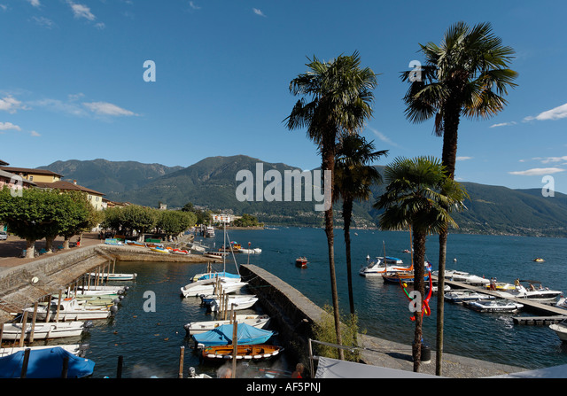 Switzerland Ticino Ascona Lago Maggiore little harbour for motor boats - Stock Image