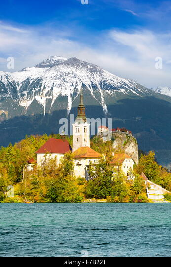 Slovenia, Lake Bled and Santa Maria Church - Stock-Bilder