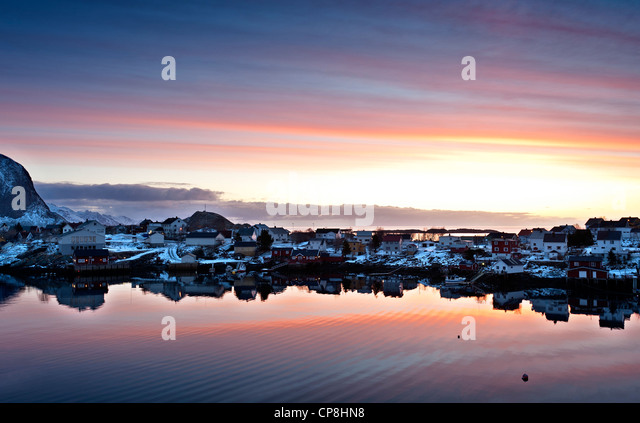Sunrise over Reine village - Stock Image