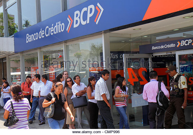Lima Peru Surquillo Avenida Ricardo Palma Banco de Credito BCP bank financial institution business branch door line - Stock Image