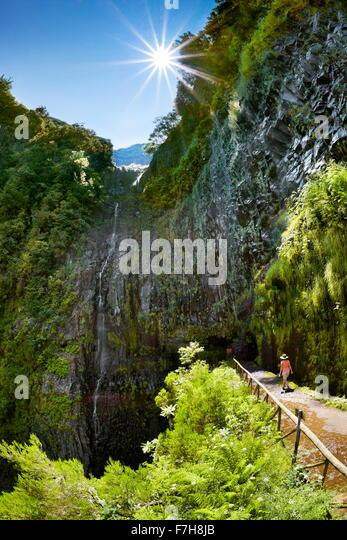 Madeira - Levada do Risco, track to waterfall Risco, Madeira Island, Portugal - Stock Image