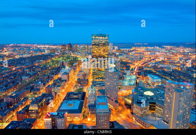 Aerial view of downtown Boston, Massachusettes, USA. - Stock Image