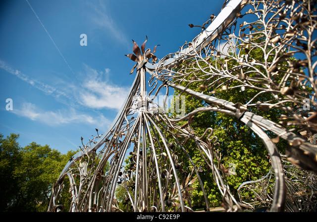 Close up of wrought iron gate - Stock-Bilder