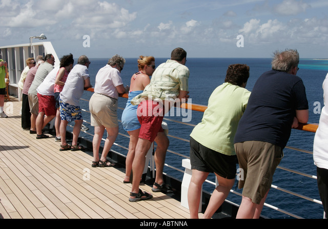 Grand Turk Turks Island Passage Holland America Line ms Noordam passengers rail - Stock Image