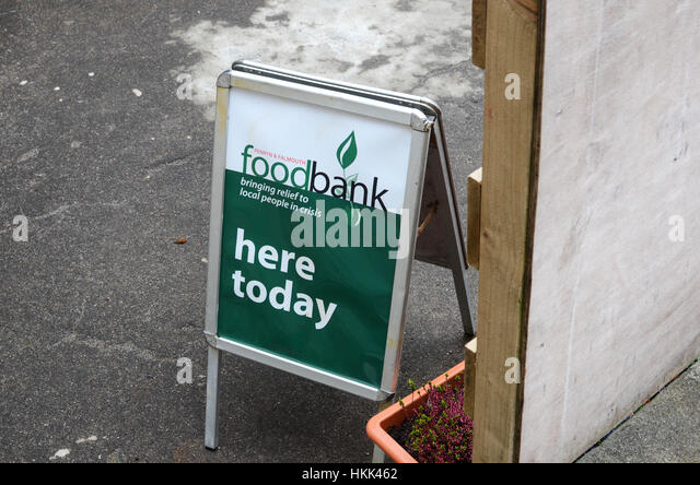 Food bank Sign, Cornwall UK. - Stock Image