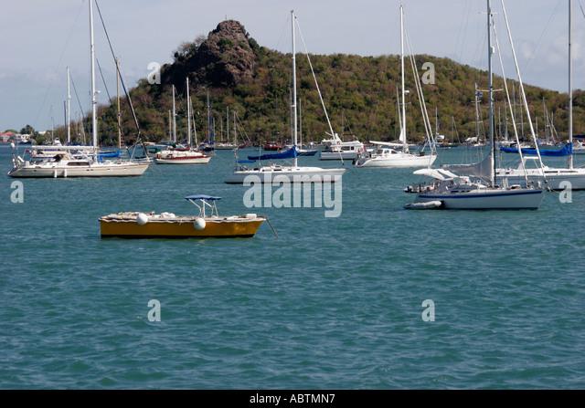 Saint Martin French Simpson Bay Lagoon boats sailboats anchored - Stock Image