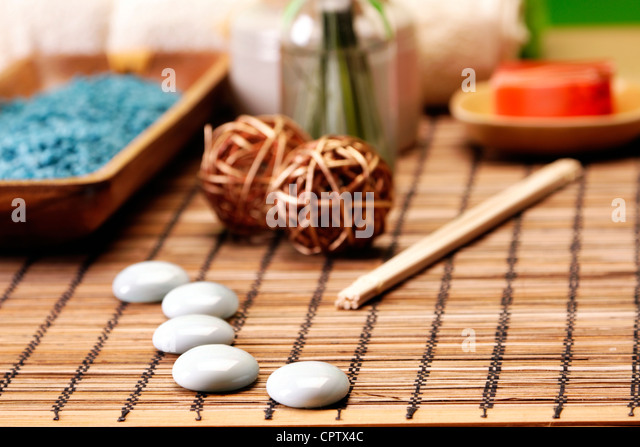Take care about your body in SPA. Zen and relax, soap - Stock Image