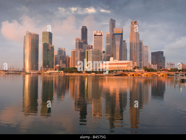 Asia Singapore Singapore Skyline Financial district at sunrise - Stock Image