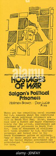 A Vietnam War era leaflet from the American Friends Service Committee titled 'Hostages of War: Saigon's - Stock Image
