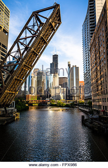 Chicago downtown and Kinzie Street Railroad Bridge along the Chicago River with Willis Tower (Sears Tower). - Stock Image