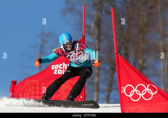 Sochi, Russia. 22nd February 2014. Amelie Kober of Germany in action during the Ladies' Snowboard Parallel Slalom - Stock Image