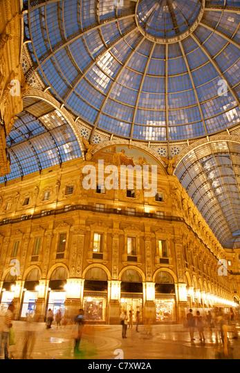 Milan - Vittorio Emanuele galleria in evening - Stock Image