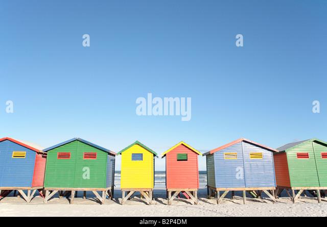 Beach Huts, Muizenberg, South Africa - Stock Image