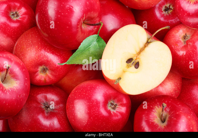 Red apples with leaf - Stock Image