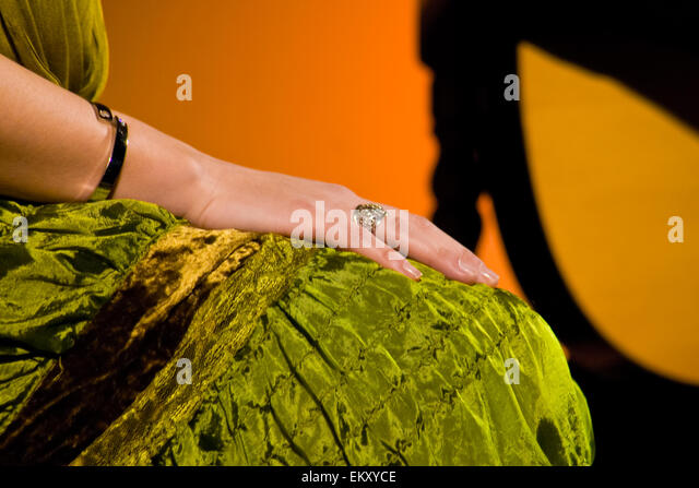Tense female hand of a flamenco singer during the performance, Spain - Stock Image