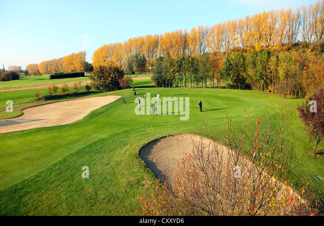 Schloss Horst golf course, lane 7, Par 3, Gelsenkirchen, Germany - Stock Image