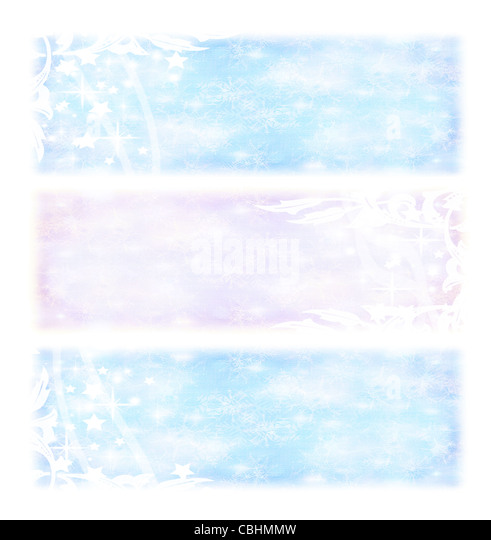 Winter holidays banners, cold blue and pink Christmas backgrounds, wintertime collage,decorative ornamental abstract - Stock Image