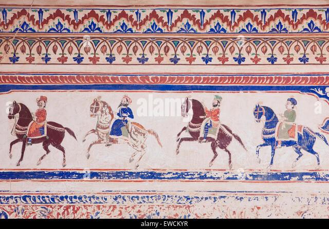 Rajput riders on horseback. Fresco in a private mansion (Haveli), Nawalgarh, Rajasthan, Indien - Stock-Bilder