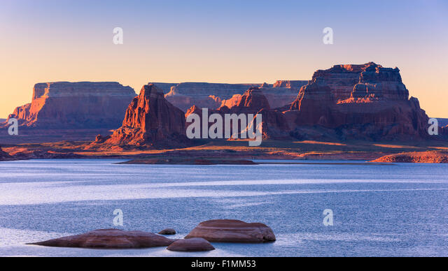 Padre Bay, from Cookie Jar Butte at sunrise. Lake Powell, Utah, USA - Stock Image