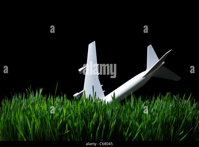 Toy Airplane in grass at night - Stock Image