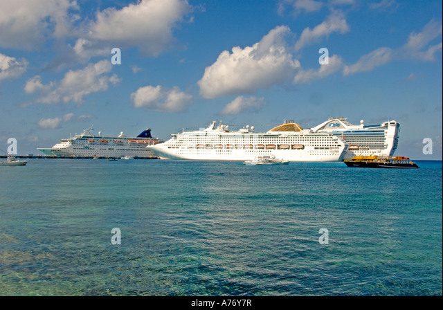 Cozumel Mexico San Miguel town southern dock three cruise ships - Stock Image
