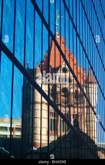 Trinity Church Reflected in the John Hancock Building, Boston, MA - Stock Image