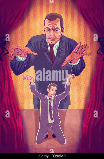 Illustrative concept of boss controlling executive as puppet - Stock-Bilder