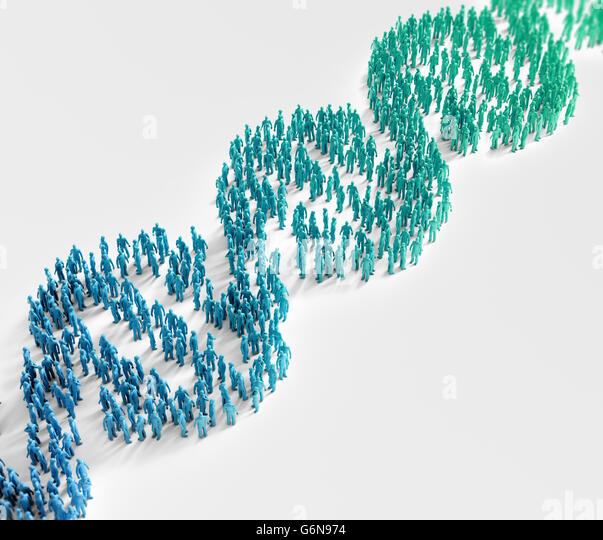 Tiny people forming a DNA helix symbol - genetics research and population wide genetic traits concept - Stock-Bilder