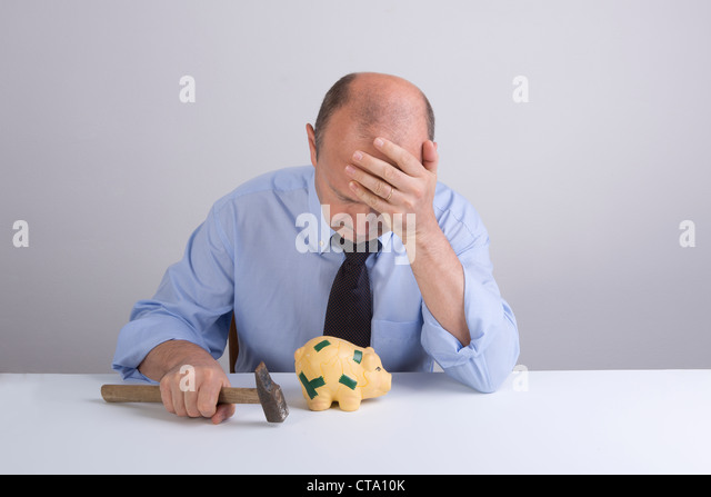 the tragedy of the financial crisis - Stock Image
