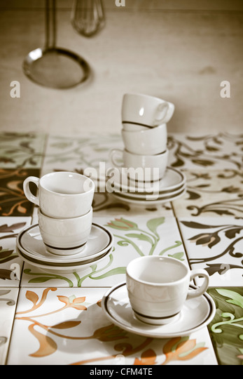 several espresso cups old-fashioned tiles - Stock-Bilder