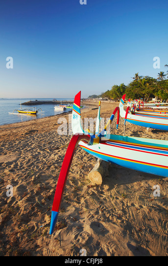 Boats on Sanur beach, Bali, Indonesia, Southeast Asia, Asia - Stock Image