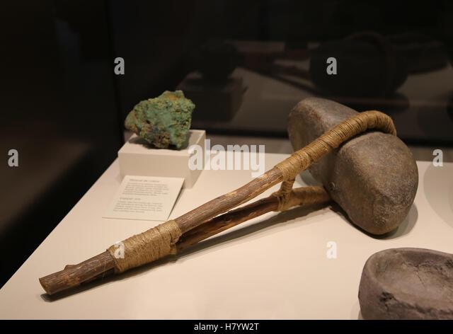 Miner's hammerstone. Quartzite. Bronze Age. Spain. - Stock-Bilder