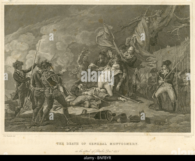 Circa 1880s engraving, 'The Death of General Montgomery in the Attack of Quebec, Dec, 1775.' - Stock Image