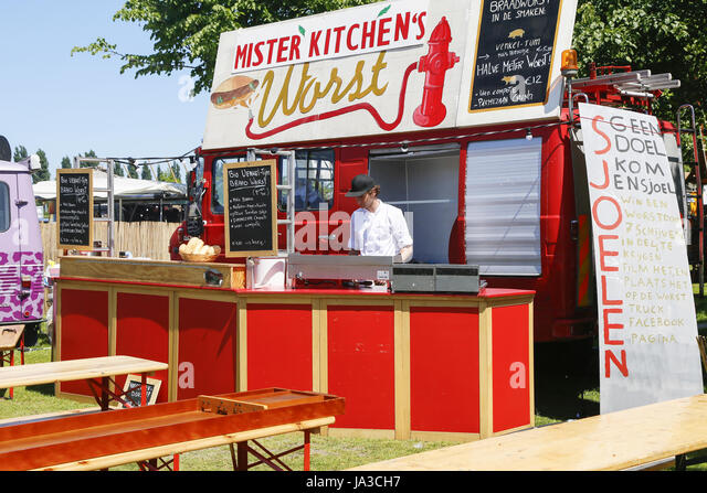 Food festival The Rolling Kitchens at the Westergasfabriek in the Westerpark in Amsterdam, The Netherlands. Mister - Stock Image