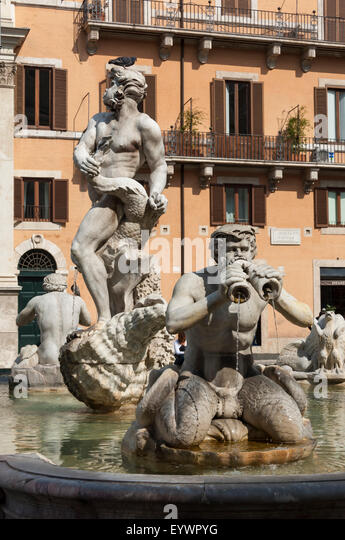 Fontana del Moro, by Bernini, Piazza Navona, Rome, Lazio, Italy, Europe - Stock Image