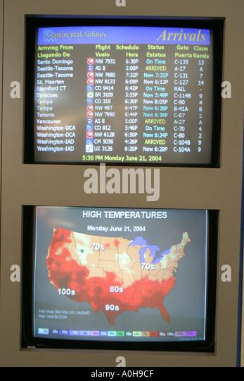 New Jersey Newark Liberty Airport monitors weather flight information - Stock Image