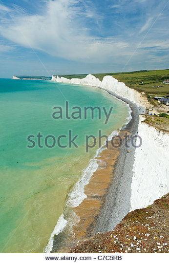 The Seven Sisters cliffs, from above Birling Gap, South Downs National Park - Stock Image
