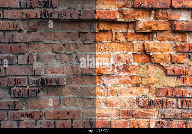 Photo before and after the image editing process. Brick wall - Stock Image