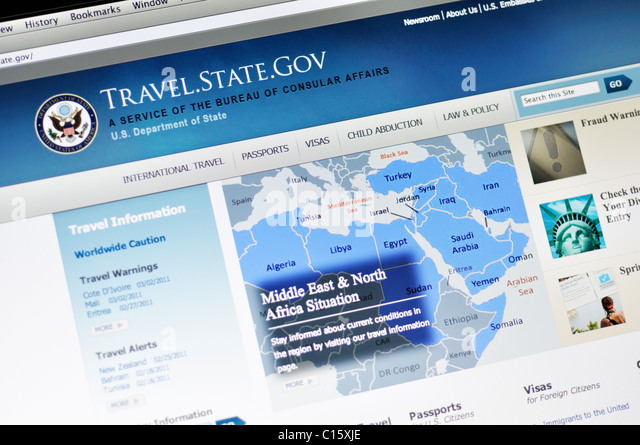 US Bureau of Consular Affairs website - Stock Image