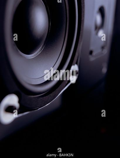 Black Bass Speaker on Black Lacquered Table - Stock-Bilder
