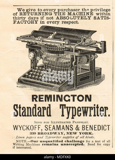 Early advert, Remington standard typewriter, 1888 - Stock Image