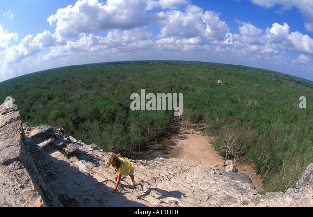 nohoch mul pyramid coba maya archaeological ruin yucatan mexico near playa del carmen and riviera maya - Stock Image
