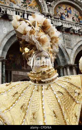 Masked figure in costume at the 2012 Carnival, Venice, Veneto, Italy, Europe - Stock Image